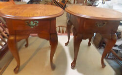 Pair Of Solid Oak Oval End Tables / Side Tables T22
