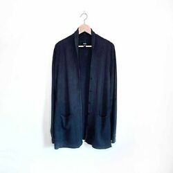 Eileen Fisher Charcoal Silk Button Down Cardigan - Size Large