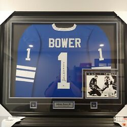 Johnny Bower Signed Framed Toronto Maple Leafs Blue Replica Jersey Auto