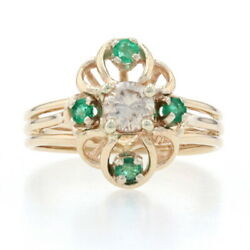Yellow Gold Diamond And Emerald Floral Ring - 14k Round Brilliant Cut .45ctw