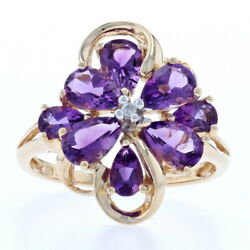 Yellow Gold Amethyst And Diamond Flower Cluster Ring - 14k Pear Cut 2.36ctw