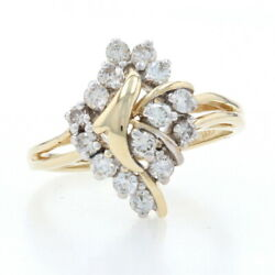 Yellow Gold Diamond Cluster Bypass Ring - 14k Round Brilliant Cut .50ctw