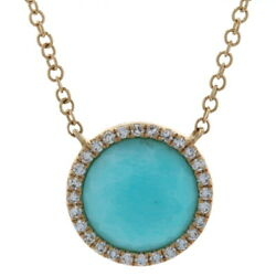 Yellow Gold Amazonite And Diamond Halo Necklace - 14k Faceted Round Cut Adjustable