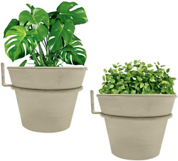 Wall Planters for Indoor Plants Set of 2 Complete 8 Inch White Metal Wall Pots