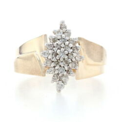 Yellow Gold Diamond Cluster Bypass Ring - 10k Round Brilliant Cut .25ctw Brushed