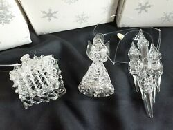 3 Vtg. Silvestri Spun Glass Christmas Ornaments Angel, House And Castle In Boxes