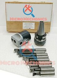 Dia 50 Mm Micro Boring Head Set With R8 Shank And 9 Pcs 12mm Carbide Tipped Tools