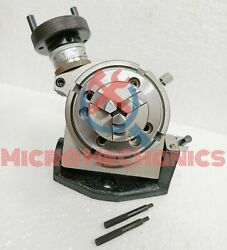 Rotary Table 100 Mm Tilting 4 In With 50 Mm Mini Lathe Scroll Chuck 14x1 Thread
