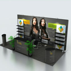 20ft Custom Trade Show Displays Booth System Podiums Lights Back Wall Shelves