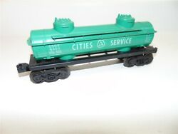 Vintage Lionel Cities Service 2 Dome Tank Car Green And Black-good Condition.