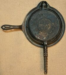 Antique Griswold Cast Iron American Waffle Cooker 8 Rare Slant Logo Usa 885 886
