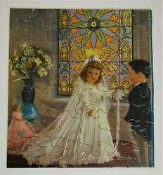 Vtg 1940's And 1950s Doll In Wedding Dress W/groom Jigsaw Puzzle 36 Pieces