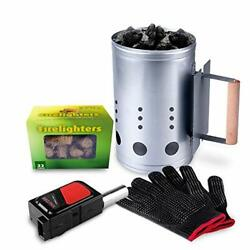 Charcoal Chimney Starter Set, Fireplace Heat Resistant Gloves, Blower Bbq Tools