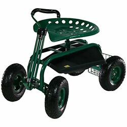 Garden Cart Rolling Scooter With Extendable Steering Handle Swivel Seat Green
