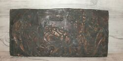 Vintage Expressionist Hand Made Copper Wall Hanging Plaque Wine Makers