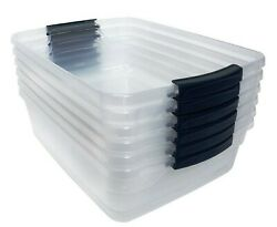 Rubbermaid Cleverstore Clear 30 Qt Stackable Plastic Storage Containers - 6 Pack