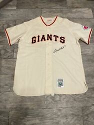 Willie Mays Signed Mitchell And Ness Giants Rookie Jersey Gorgeous Signature Jsa