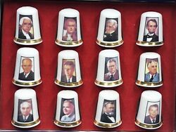 12 Finsbury Collectible President Thimbles Fine Bone China Gold Trim With Box