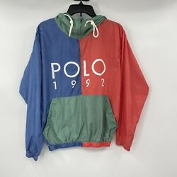 Nwt Polo Menandrsquos Size Large Polo 1992 Hooded Windbreaker Pullover