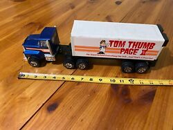 Vintage Tom Thumb Page Rx Grocery Store Metal Semi Truck And Trailer Nylint