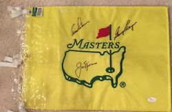 Undated Masters Flag Signed By Palmer/nicklaus/player Jsa Full Letter