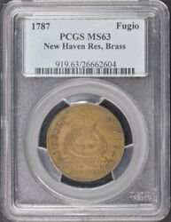 1787 Fugio New Haven Brass Colonials Cents Restrike Pcgs Ms63