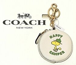Coach X Peanuts Bag Charm Keychain With Woodstock Happy Camper Coin Purse C4318