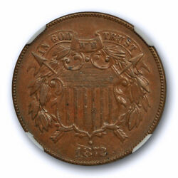 1872 2c Two Cent Piece Ngc Au 55 Bn About Uncirculated Cac Approved