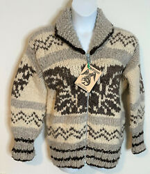 Authentic Cowichan Handknit Wool Cardigan Sweater Nwt Xl Native American Eagle
