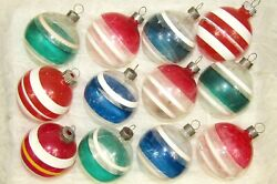 Lot Vintage Unsilvered Wwii Glass Striped Balls Christmas Ornaments Shiny Brite