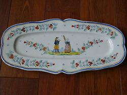 Vintage Plater Dish French Faience Hr Quimper Circa 1910s' Lenght 19,3