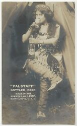 1911 Falstaff Beer Advertising - Real Photo Pretty Woman Cowgirl Lemp Brewery