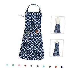 Kitchen Cooking Aprons With 3 Pockets For Men Women - Cotton Adjustable Blue