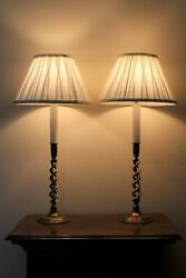 An Attractive Pair Of Brass Victorian Barley Twist Candlestick Lamps With Shades