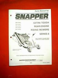 Snapper Rear Engine Extra Tough Series 6 Riding Mower Parts Manual