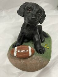 Jim Lamb Puppy Collection 1995 Black Lab With Football Figurine