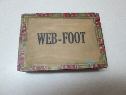Rare Old Antique Web Foot Indian Wood Cigar Box Series Of 1926 0n Tax Label
