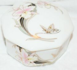 Fine Japan China Orchid Butterfly Trinket Box Octagon Shape With Lid