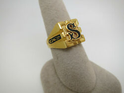 Vintage 21k Gold Eastern Ring With Initial S With Black Enamel 14.3 Gr Size 8