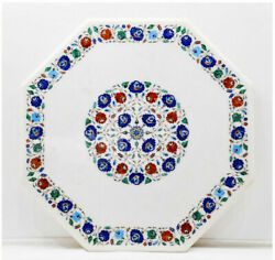 48 Marble Center Dining Table Top Floral Inlay Semi Precious Stones Art Work