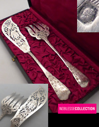 Amazing Antique 1880s French Sterling Silver Fish Serving Set Of 2 Pieces