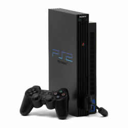 Sony Playstation 2 Package Incl. Console/black 2 Corded And 1 Wireless Controller