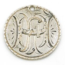 Victorian 1886 Ffh Hff Fhf Love Token Hand-engraved Seated Liberty Dime Charm