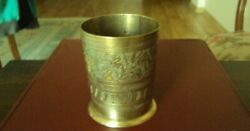 Small Brass Vintage Cup Shot Glass Measure Etched Copper