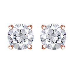1.00 Cttw Round Cut Diamond Solitaire Earrings 14k Rose Gold Christmas Special