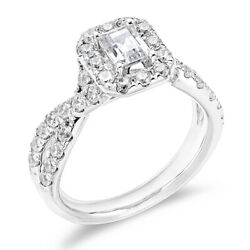 1-1/2 Ct Emerald Round Cut Diamond Wedding Ring 14k White Gold Christmas Special