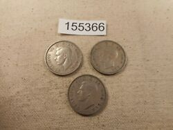 Three Great Britain One Shilling 1949 1950 1950 Nice Album Coins - 155366