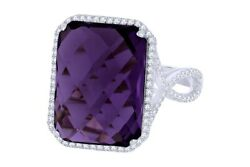 10.57 Ctw Amethyst And White Natural Diamond Cocktail Ring 14k Solid White Gold