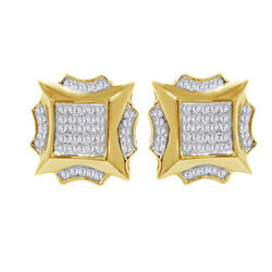 Simulated Diamond Men's Stud Earrings 10k Yellow Gold Over Sterling Silver 925