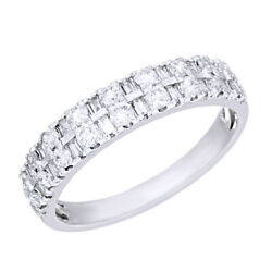 1/2ct Round And Baguette Diamond 14k White Gold Double Row Band Ring Size 10